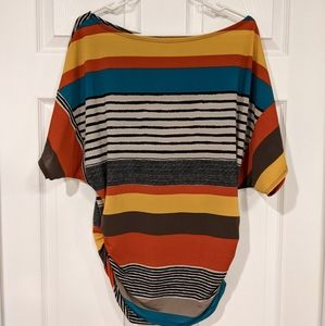 Multicolor striped sheer poncho blouse women's